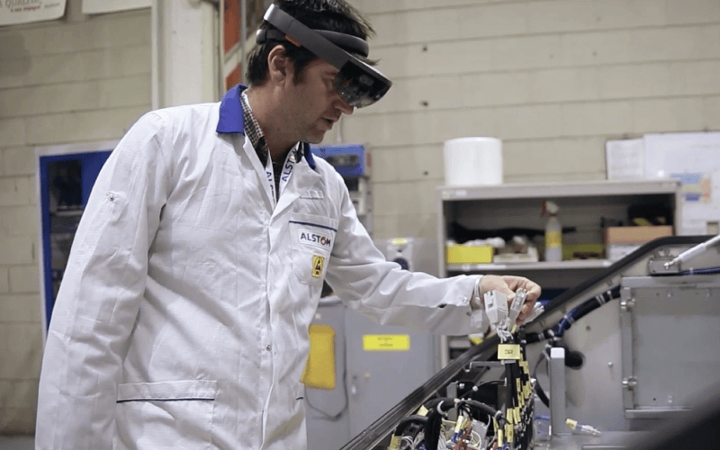 Alstom operator wearing HoloLens smart glasses