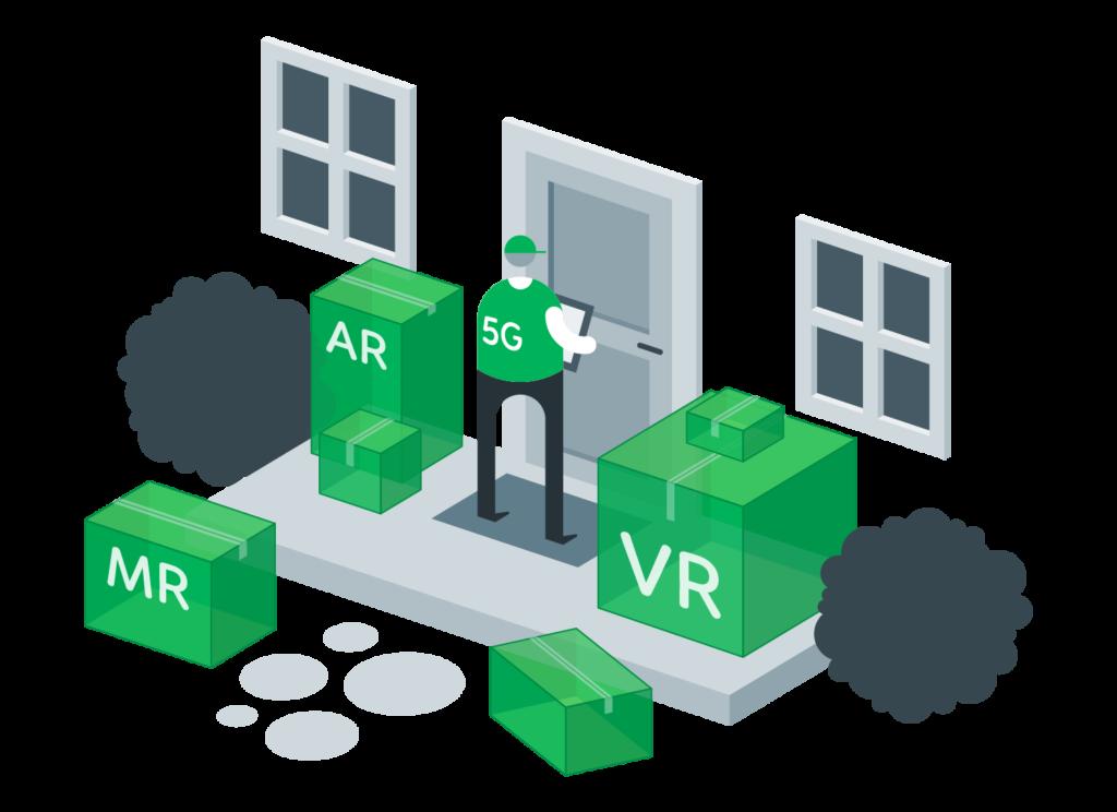 rappresentazione della rete 5G che consente esperienze immersive in AR, MR, VR