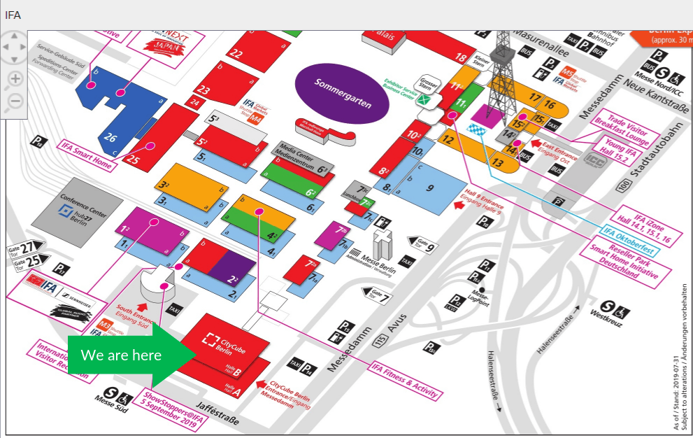 We are here sign on the map of IFA Berlin 2019 by JoinPad Augmented Reality for Enterprise