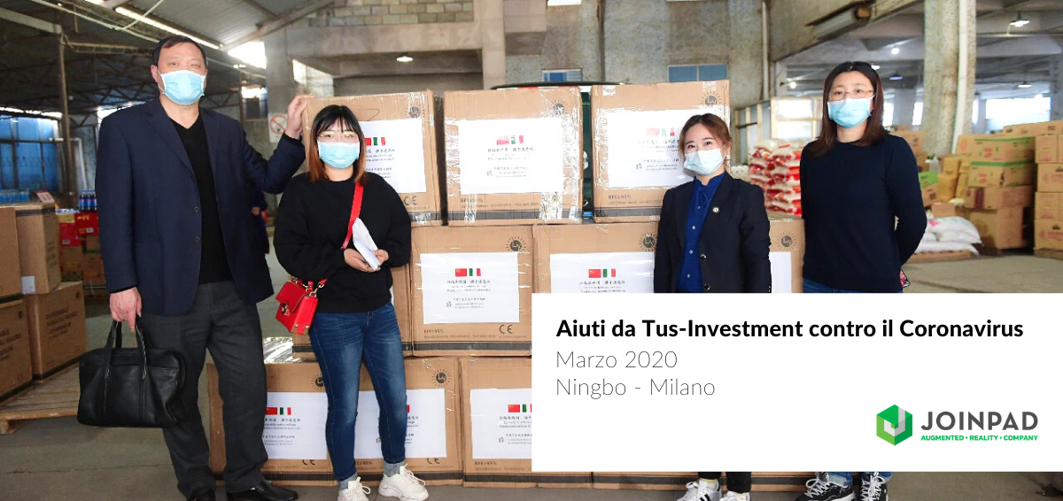 cover news scatole di mascherine medicali da Tus Investment - JoinPad Augmented Reality Company